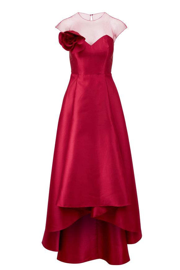 Sachin + Babi Blakely Raspberry Illusion Neck Gown
