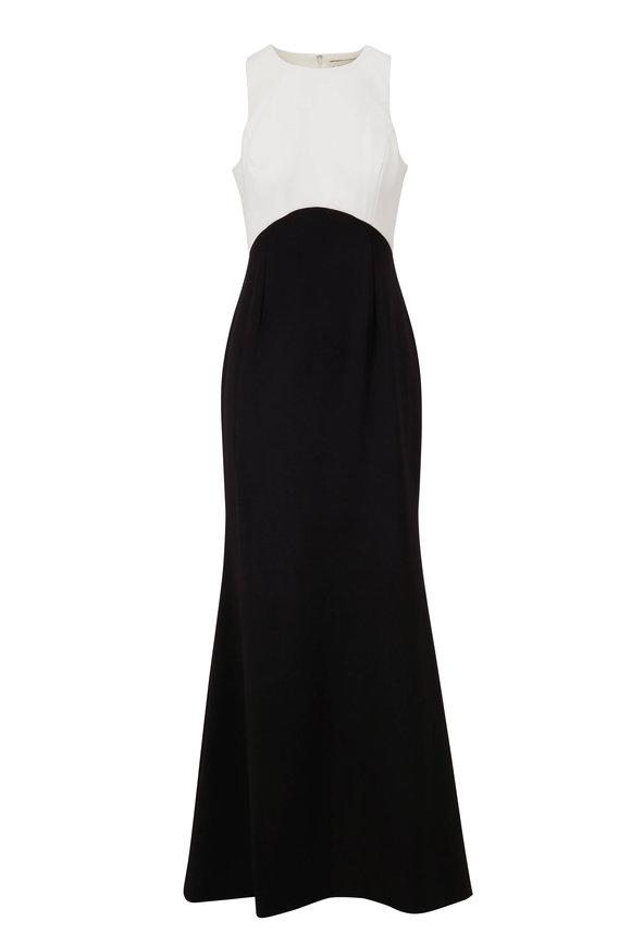 Sachin + Babi Cherish Black & Ivory Stretch Crepe Gown
