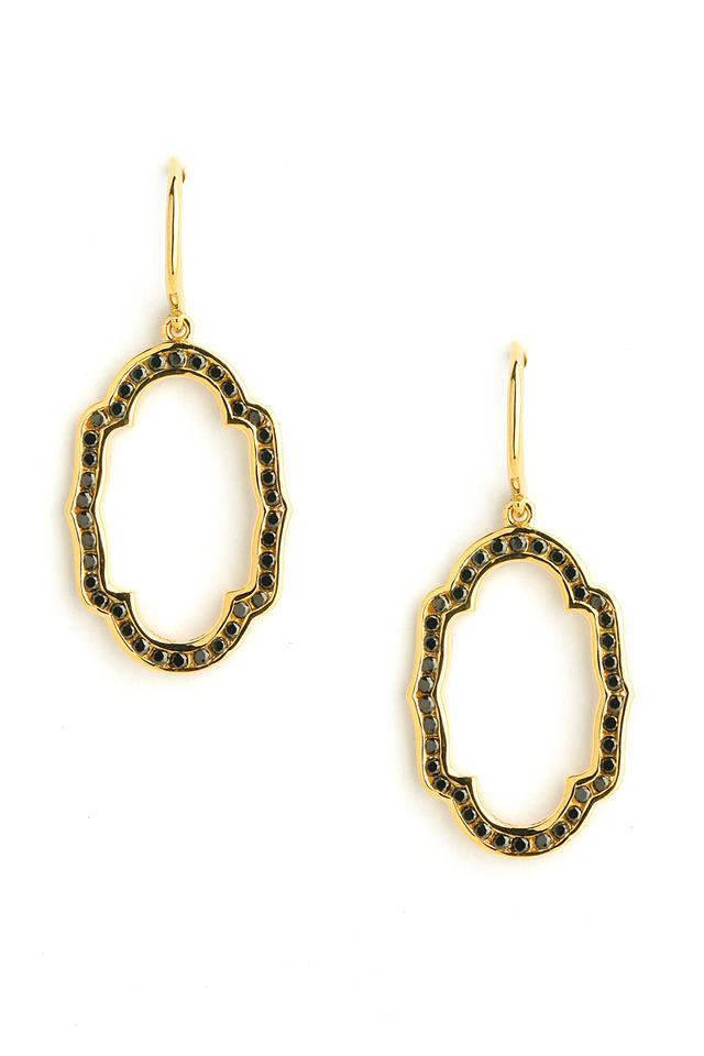 Black Diamond Yellow Gold Mogul Oval Earrings