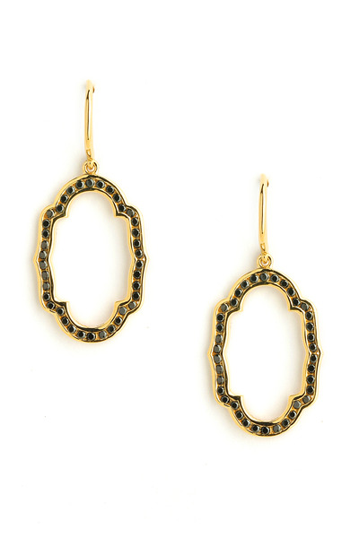 Syna - Black Diamond Yellow Gold Mogul Oval Earrings