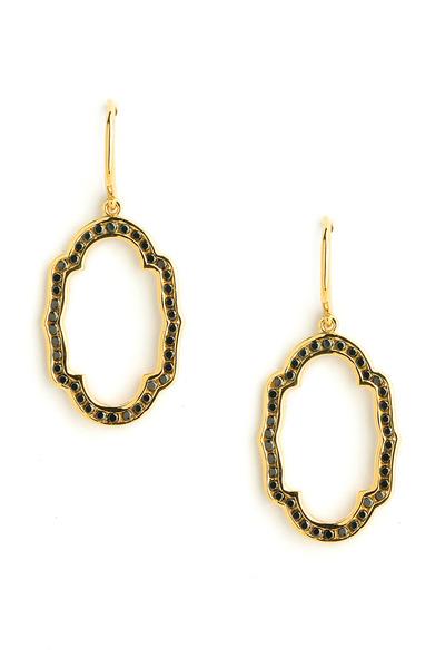 Syna - Black Diamond Yellow Gold Mogul Oval Earrings