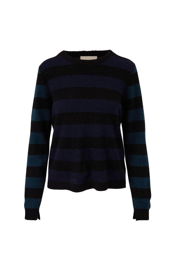 Jumper 1234 Black, Navy & Bottle Rugby Stripe Cashmere Sweater