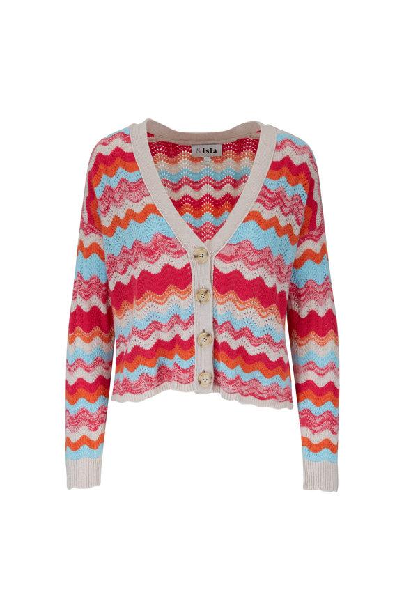 &Isla Rona Any Berry Wave Stripe Cardigan