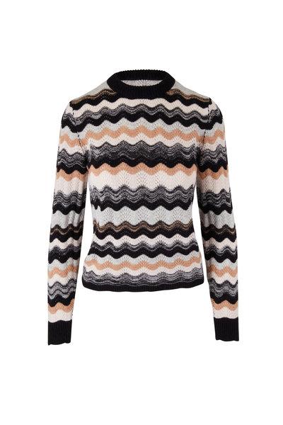 &Isla - Cerys Black & Almond Wave Stripe Sweater