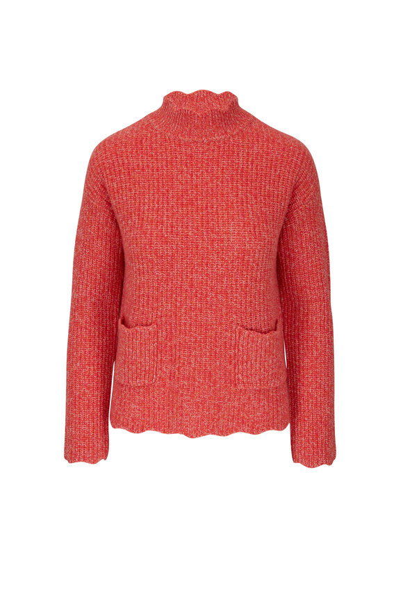 &Isla Laine Any Berry Wool & Cashmere Scallop Turtleneck