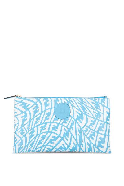 Fendi - Blue & White Vertigo FF Flat Pouch