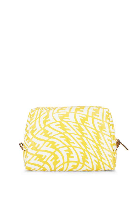 Fendi Yellow Vertigo FF Print Cosmetic Bag