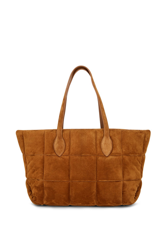 Khaite Florence Caramel Quilted Suede Tote