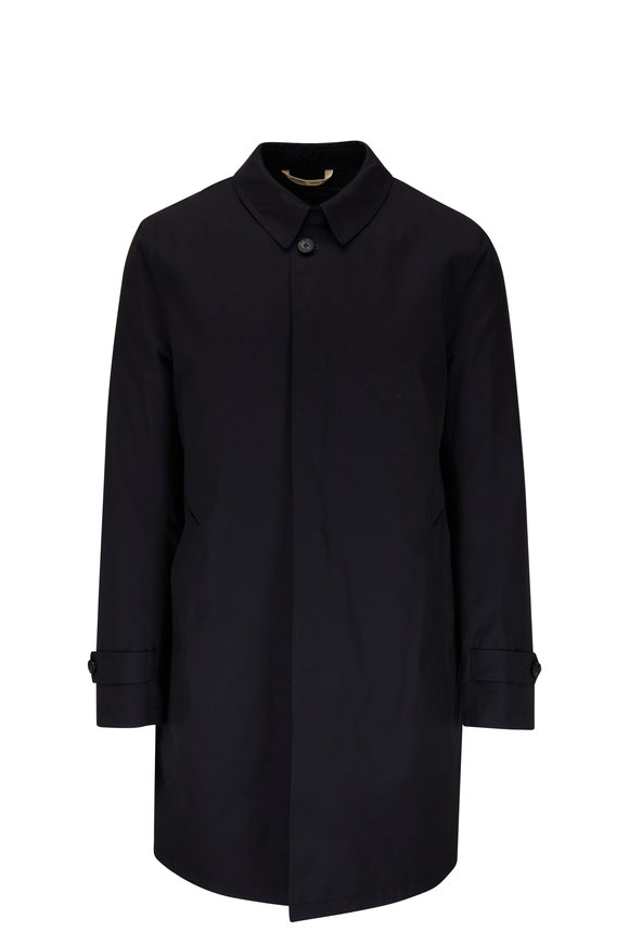 Maurizio Baldassari Navy Stretch Wool Raincoat