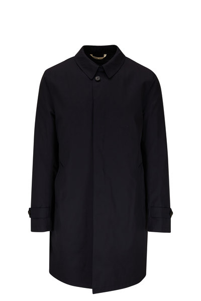 Maurizio Baldassari - Navy Stretch Wool Raincoat