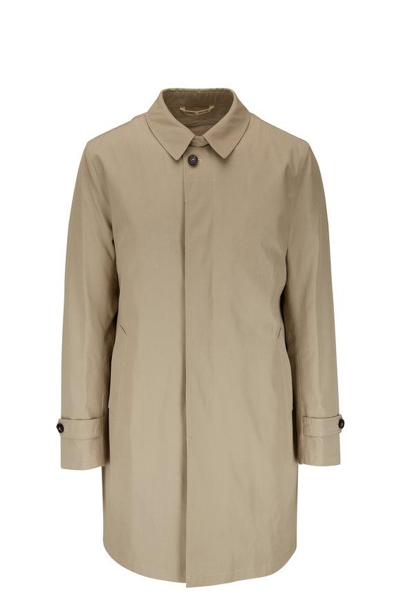 Maurizio Baldassari Tan Stretch Wool Raincoat