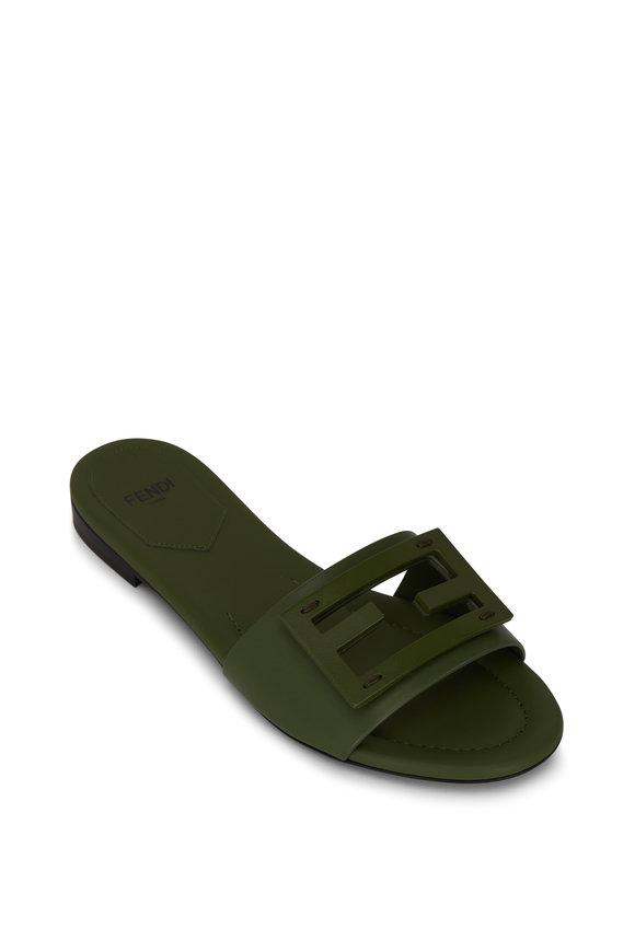 Fendi Olive Leather FF Flat Sandal