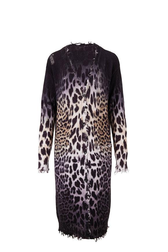 R13 Faded Leopard Long Cardigan