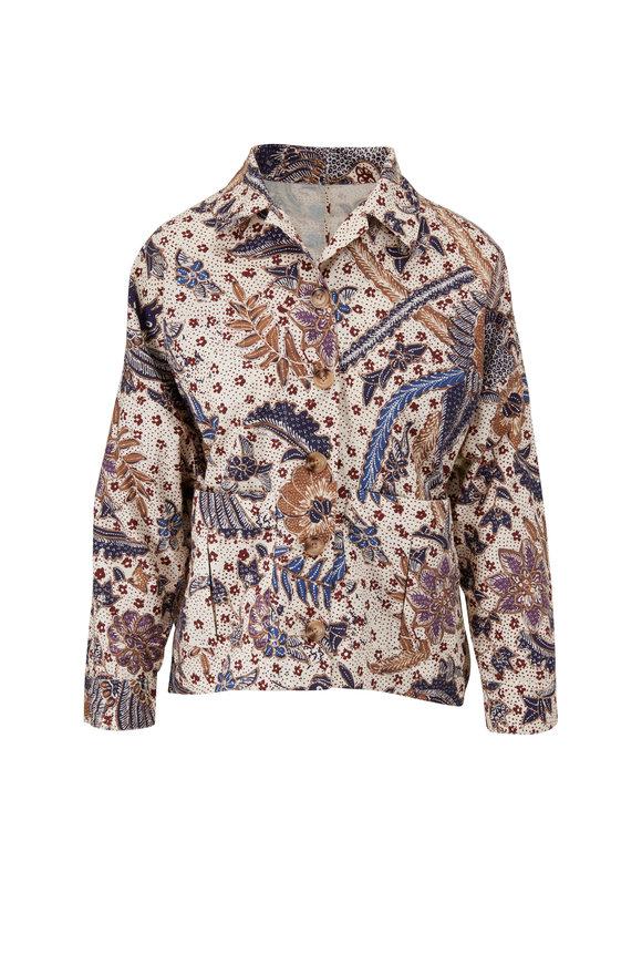 Cara Cara Philip Batik Ivory Cotton Canvas Jacket