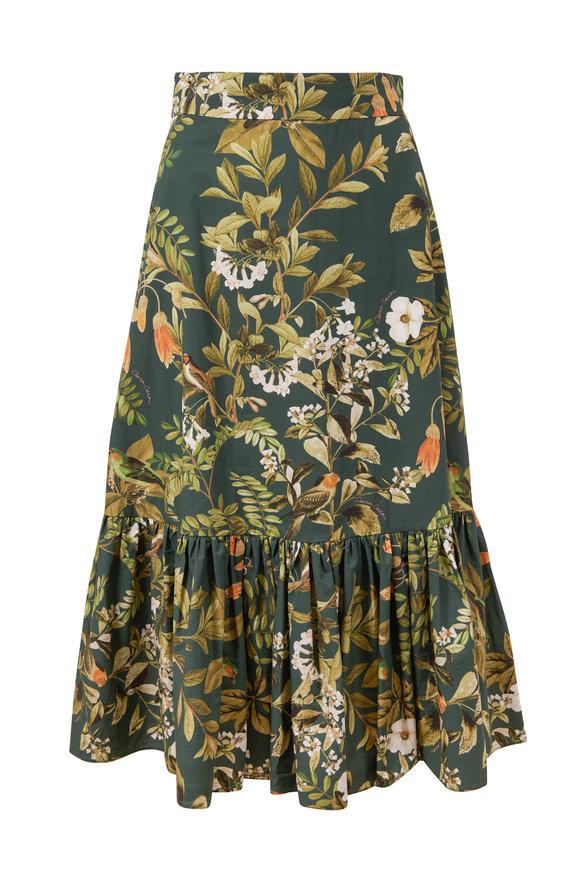 Cara Cara Lynn Botanical Birds Poplin Skirt
