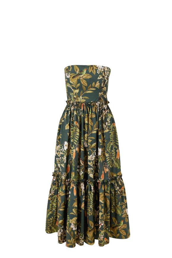 Cara Cara Torres Botanical Birds Cotton Strapless Dress