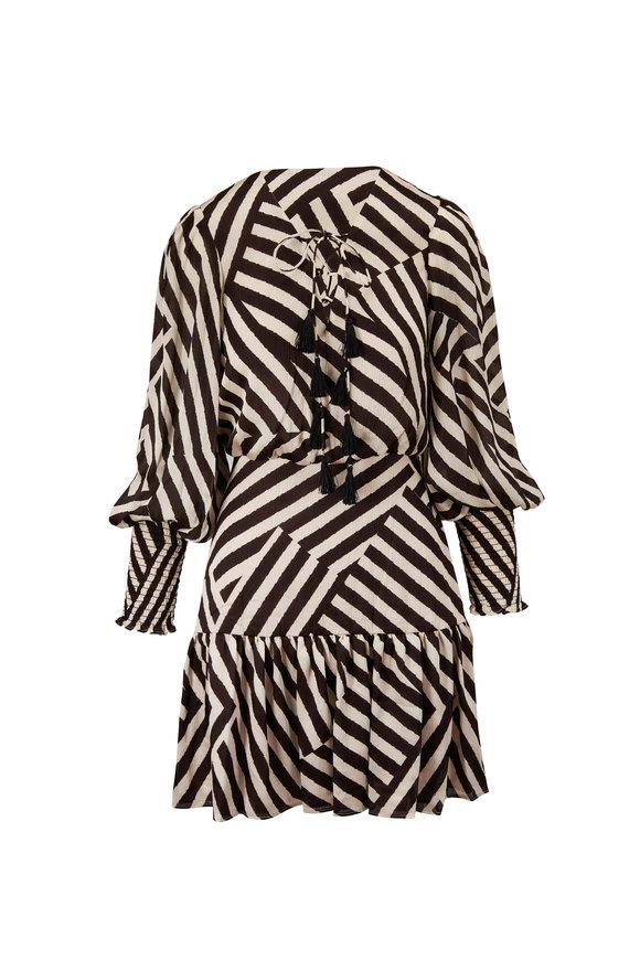 Sachin + Babi Samarah Black & White Stripe Balloon Sleeve Dress