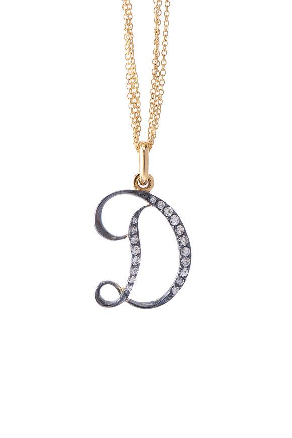 Sylva & Cie Initial D Diamond Pendant Necklace