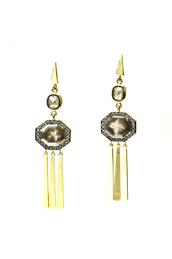 Sylva & Cie Yellow Gold Rough Diamond Tassel Earrings