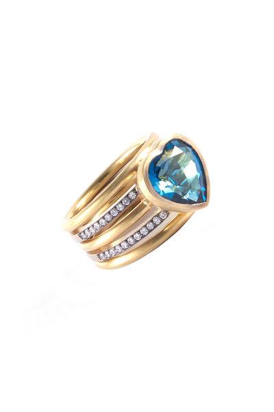 Sylva & Cie - Yellow Gold Blue Topaz Heart Ring