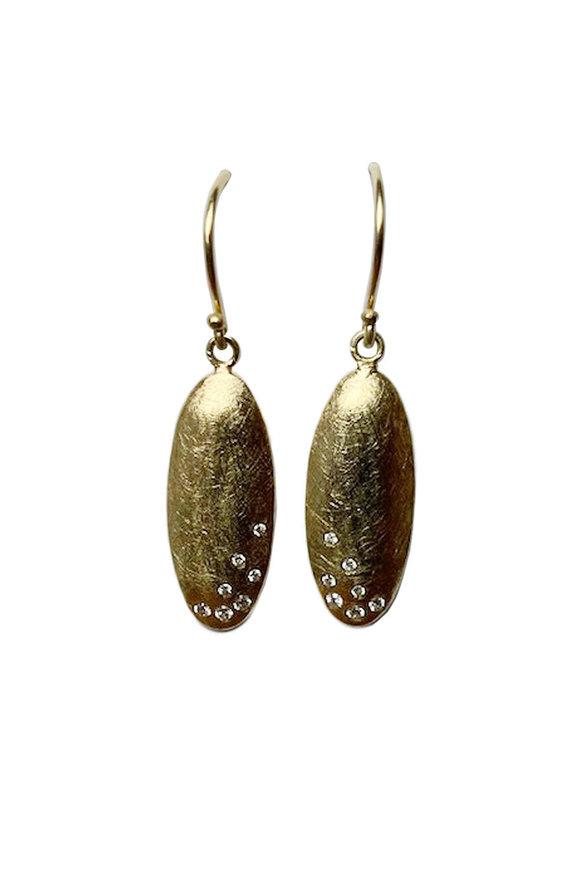 Todd Reed Diamond Egg Shape Drop Earrings