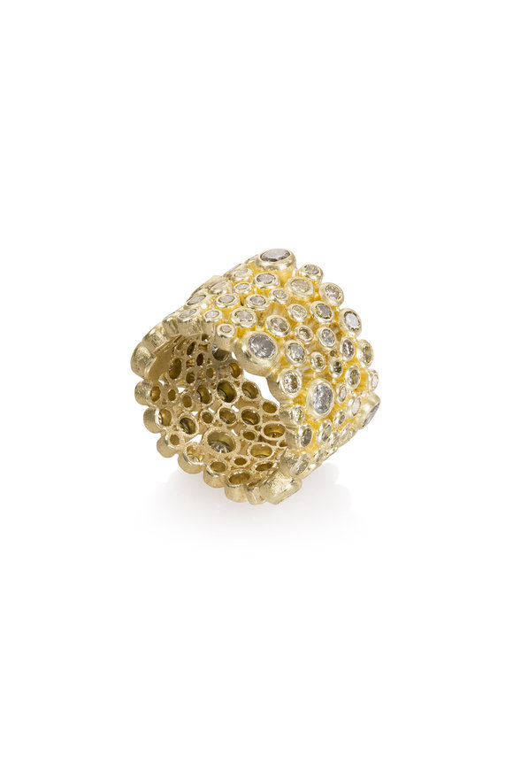 Todd Reed Yellow Gold Gray & Olive Diamond Ring