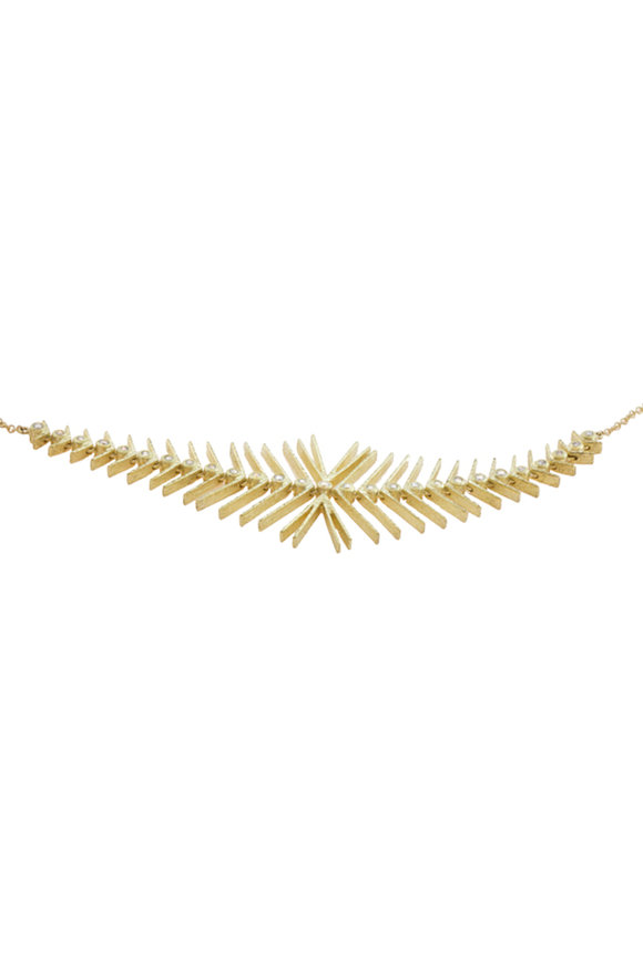 Todd Reed Yellow Gold Diamond Fishbone Necklace
