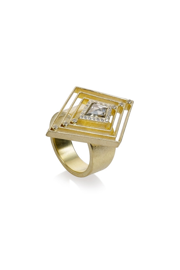 Todd Reed Yellow Gold Fancy Diamond Triangle Ring