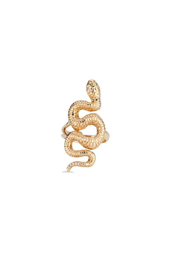 Dru Yellow Gold Snake Ring