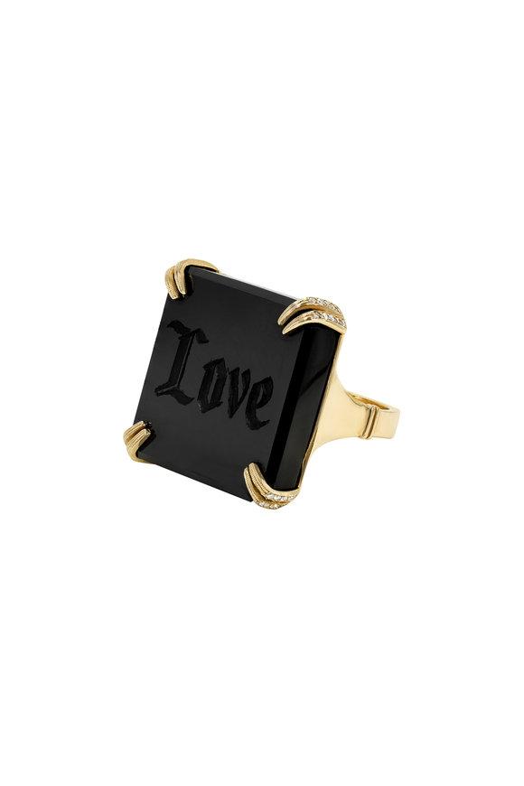 Dru Yellow Gold Black Onyx Love Ring