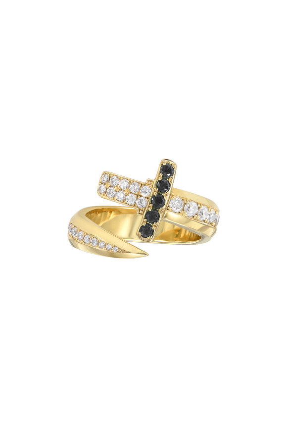 Dru White & Black Diamond Sword Ring