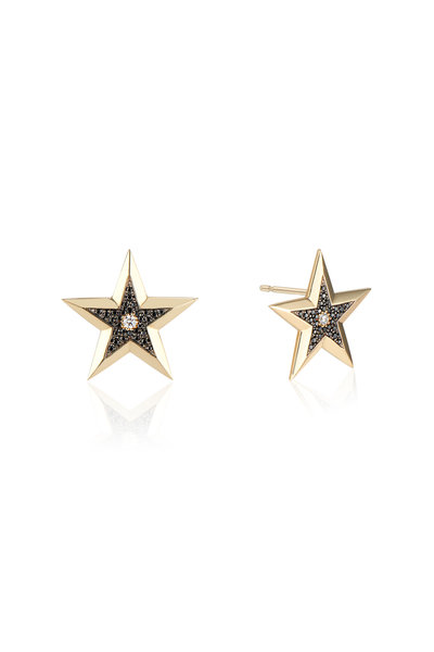 Dru - Yellow Gold Diamond Star Studs