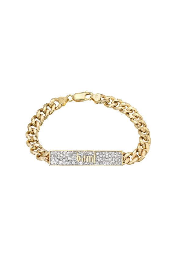 Dru Yellow Gold BAMF ID Cuban Link Bracelet