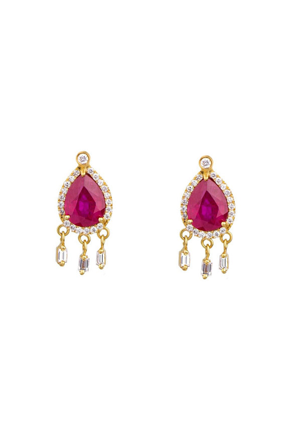 Dima Jewellery Ruby & Diamond Drop Stud Earrings