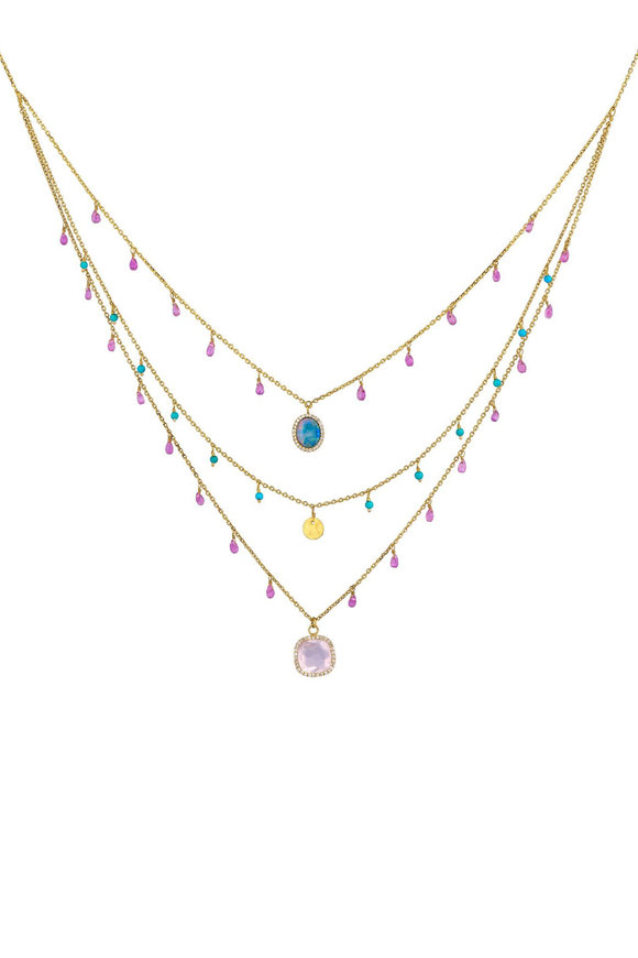 Dima Jewellery Multi Gemstone Triple Layer Bib Necklace