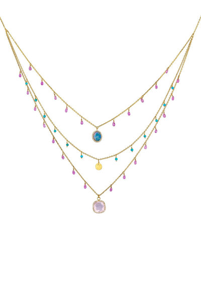 Dima Jewellery - Multi Gemstone Triple Layer Bib Necklace