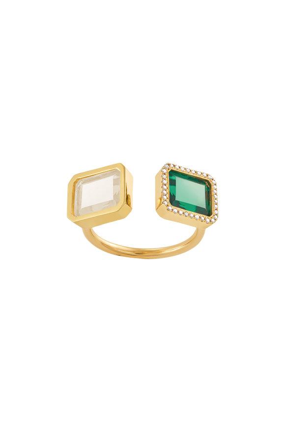 Dima Jewellery Emerald & White Topaz Double Stone Ring