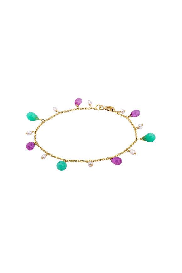Dima Jewellery Yellow Gold Beaded Multi Gem Drop Bracelet