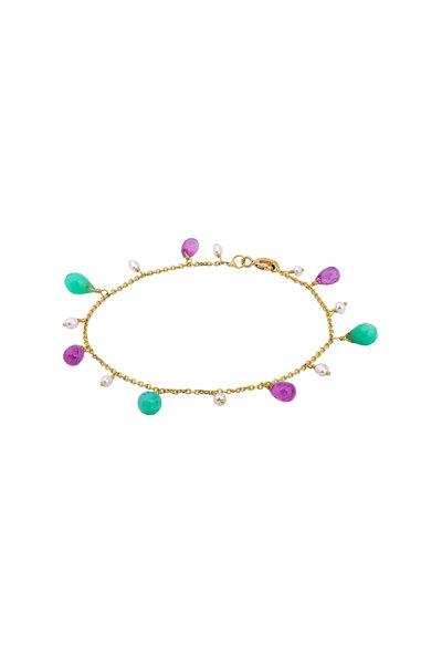 Dima Jewellery - Yellow Gold Beaded Multi Gem Drop Bracelet