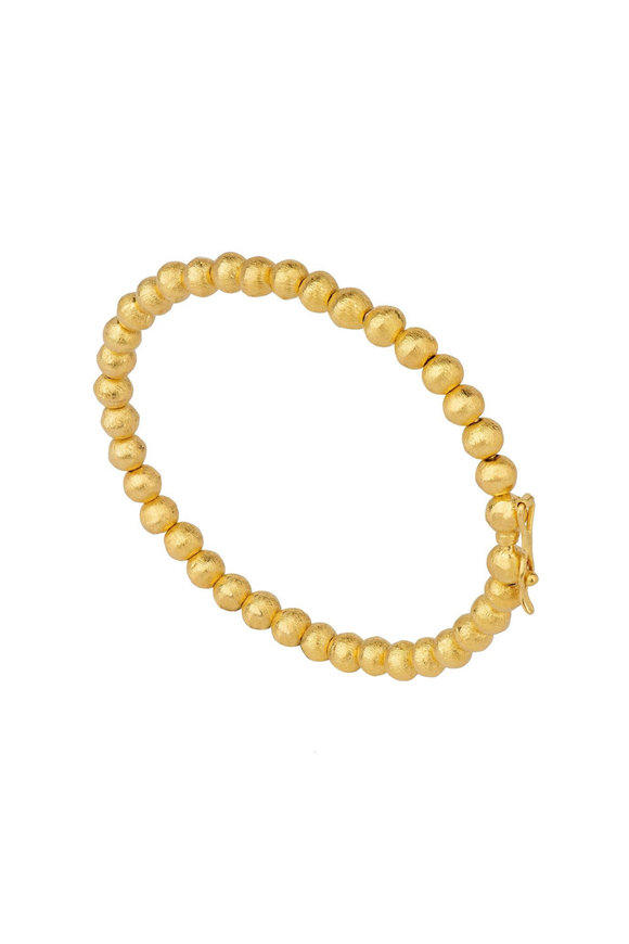 Dima Jewellery Yellow Gold Hammered Ball Bangle