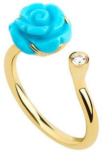 Dima Jewellery Turquoise Flower & Diamond Open Ring