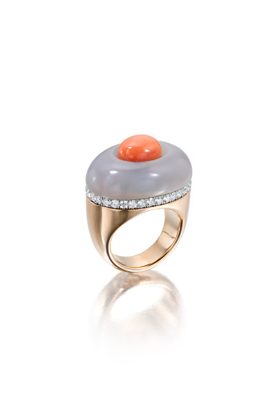 Assael - Rose Gold Coral & Chalcedony Ring