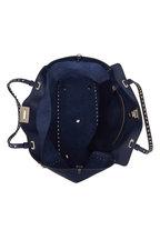 Valentino Garavani - Rockstud Navy Blue Pebbled Leather Medium Tote