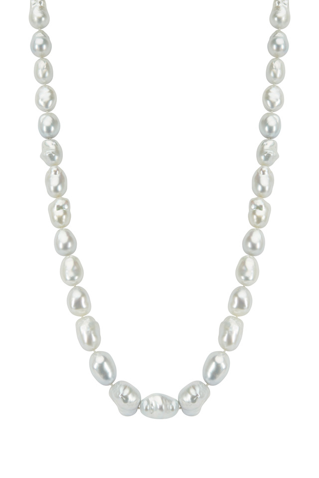 White Gold South Sea Pearl Rope Diamond Necklace