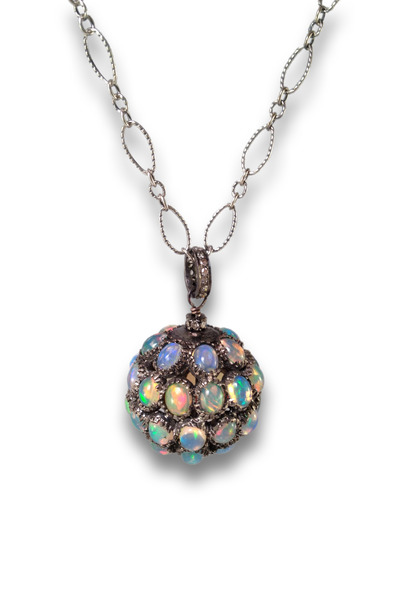 Loriann - Diamond Opal Spherical Pendant
