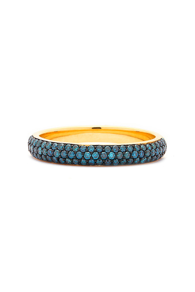 Syna - Yellow Gold Blue Diamond Stack Ring