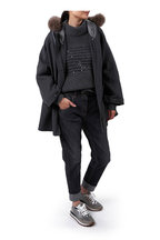 Brunello Cucinelli - Shiny Black Hammered Leather Belt