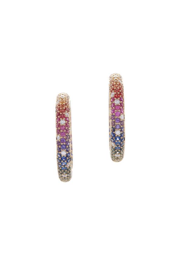 Cairo Rainbow Sapphires & Diamond Hoops