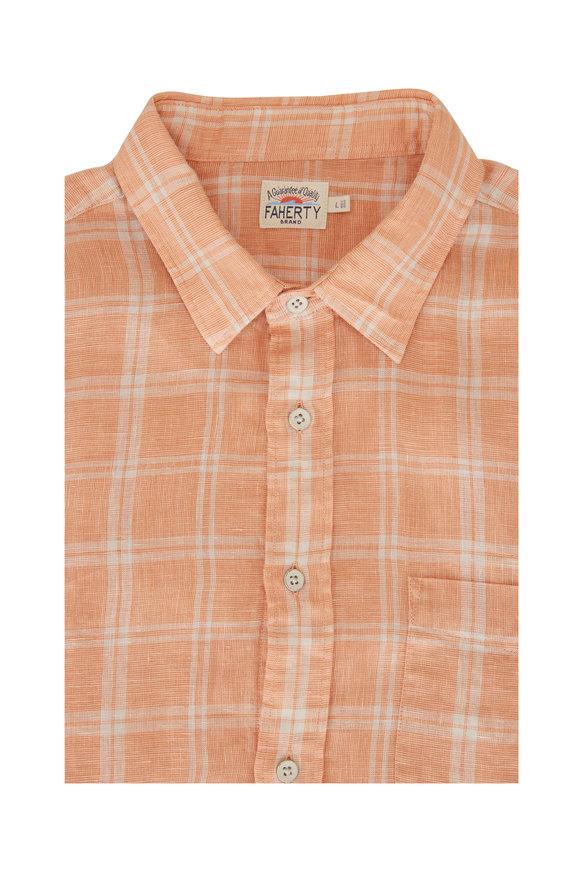 Faherty Brand Laguna Orange Plaid Linen Sport Shirt