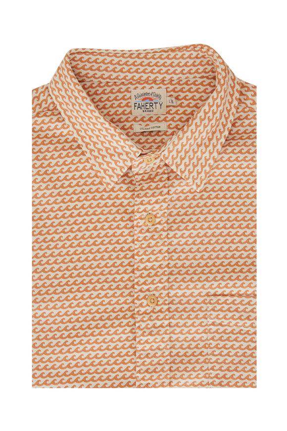 Faherty Brand Playa Ancient Wave Orange Short Sleeve Sport Shirt